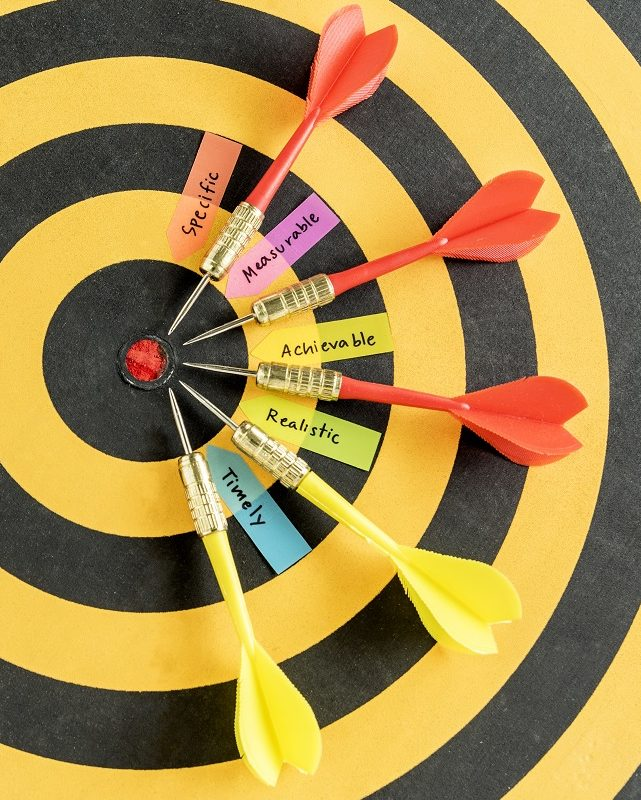 words smart goals specific measurable achievable realistic timely with five dart target near bullseye over dartboard with copy space, Business success concept